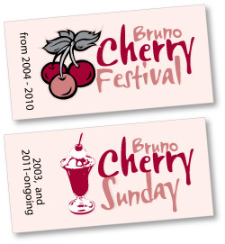 Bruno Cherry Sunday and Bruno Cherry Festival logos
