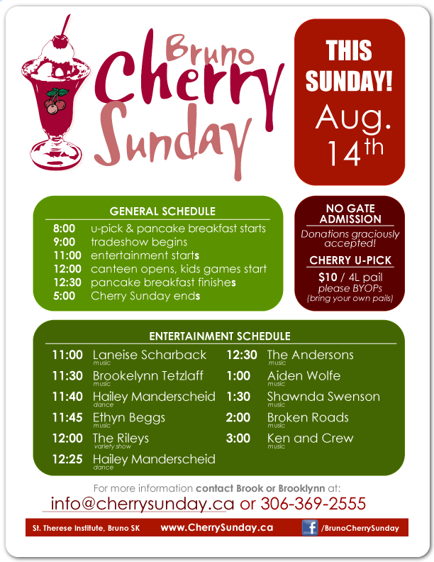 Bruno Cherry Sunday - 2016 Schedule
