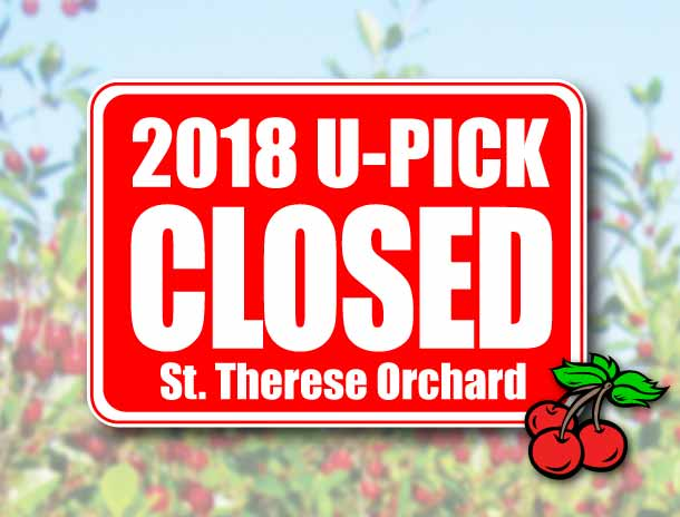 CHERRY U-PICK ORCHARD OPEN AUG. 1