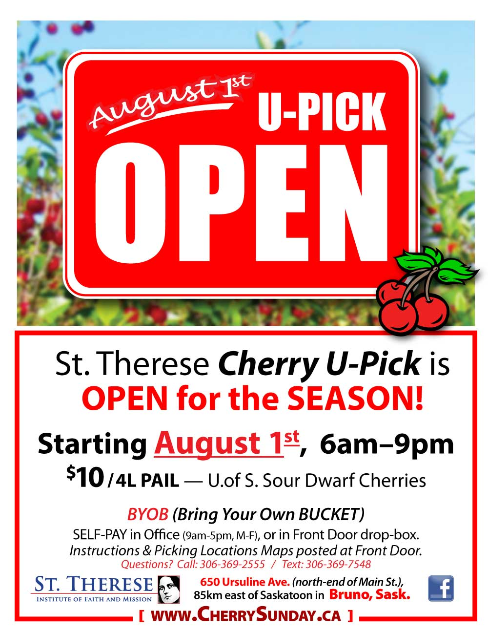 Poster - ORCHARD OPEN 2018 - U-Pick Cherry Orchard